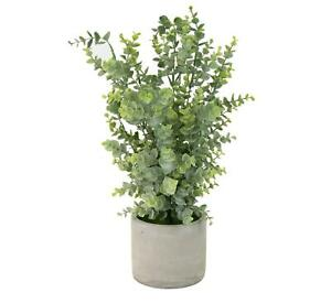 Faux Floral Boxwood Plant White Round Cement Pot Office Desk Topiary Shrub