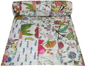 Indian Reversible Patchwork Kantha Quilt White Queen/Double Blanket Throw Art