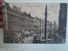Vintage  Postcard MARKET STREET, MANCHESTER Shop Fronts & Tram