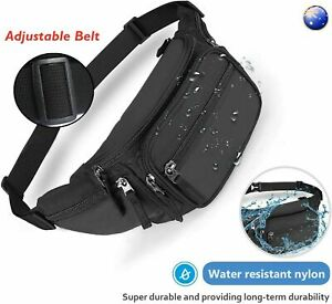 Waist Pouch Travel Bum Bag Black W/ side pockets Money Zip Belt Sports Wallet AU