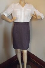 NEW YORK COMPANY 0 TWO-IN-ONE DRESS OFF-WHITE PURPLE TWEED XS blouse shirt skirt