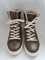S2 Women's Brown Leather Faux-fur trim Lace-Up Ankle Boots. Size UK 3, Euro 36.