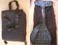 Stadium Seat Logitec Travel Tote Picnic Blanket Fold Zip Black Blue Green Plaid