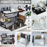 Large Capacity Dish Rack 2 Tier Utensil Holder Drainer Drying Kitchen