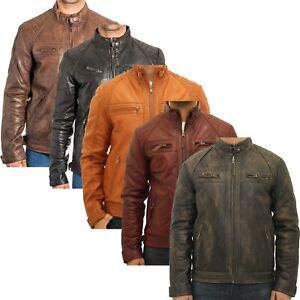 Mens Vintage Leather Quilted Retro Mandarin Collar Biker Jacket