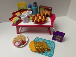 American Girl doll food and accessories lot folding table ,mugs, water bottle