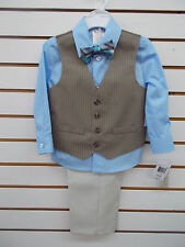 Toddler Boys Perry Ellis $50 4pc Wheat w/ Pin Stripes Vest Suit Size 2T - 3T