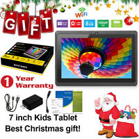 """KOCASO Quad Core 7"""" Inch 8GB Kids Tablet PC Android 4.4 Dual Camera HD WiFi BLK"""