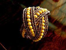 Wrap Bracelet Seed Bead Gold Blue Resin Stone Cuff Bracelet SET USA