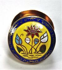 Vintage Thailand Cloisonne Lotus Flowers Trinket Box Yellow Enamel Brass