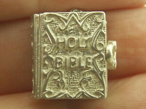 Holy Bible vintage sterling silver charm opens reveal The Lord's Prayer ornate
