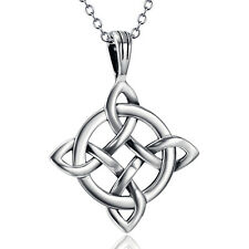 "Geniune Sterling Silver Celtic Enternal Knot Filigree Cross Pendant Necklace 18"""
