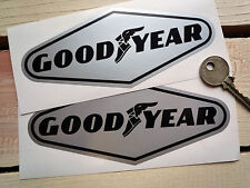 "GOODYEAR Black & Silver Car Stickers 6"" Pair Race Racing Ferrari McLaren Bugatti"