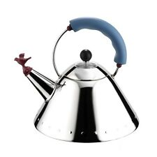 """Alessi """"Michael Graves"""" 9093 Kettle w/ Blue Handle Bird Whistle, Stainless Steel"""