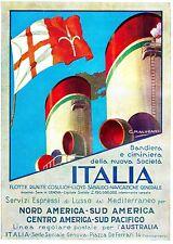 PUBBLICITA' 1932 ITALIA FLOTTE RIUNITE NAVE COSULICH BANDIERA FUMAIOLO AUSTRALIA
