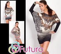 High Quality One Shoulder Dress Batwing Long Sleeve Tunic Sizes 8 - 12 FC4295