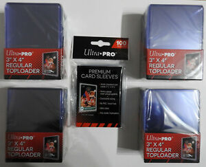 ULTRA PRO TOP LOADERS 3 X 4 INCH(X100) + 100 PREMIUM CARD SLEEVES - FREE P&P