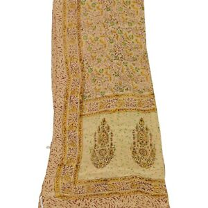 Tcw  Vintage Dupatta Long Stole Pure Silk Cream Wrap Hijab Printed Scarves