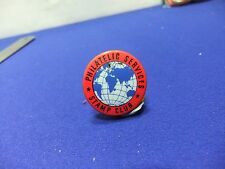 vtg badge stamp club philatelic services  tin badge 1960s collecting childrens