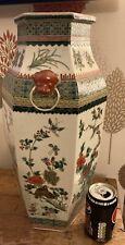 Large Antique Chinese Kangxi Mark Quail & Magpie Hexagonal Verte Porcelain Vase