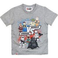 NEW Licensed Lego Star Wars Boys Grey T-Shirt - Empire V/S Rebels - Sizes 3-7