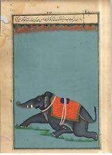 Indian Royal Elephant Watercolor Hand Painted Painting Miniature Bohemian Decor