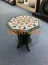 """20"""" Marble Coffee Table Top Peacock With Stand Floral Inlay Garden Decorate B332"""