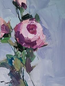 JOSE TRUJILLO Oil Painting IMPRESSIONISM PINK FLOWER FLORAL CONTEMPORARY ARTIST