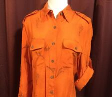Jones New York Shirt Top NWT Sz M Orange Giraffe Print Button Front Longsleeve