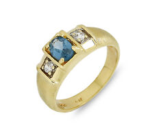 1.16 tcw Natural Aquamarine & Lab Diamond in SOLID 10k Yellow Gold Ring