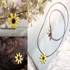 Hot Art Style Small Gift Sunflower Necklace Elegant China Ceramic Color Glaze