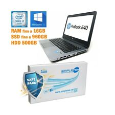 "COMPUTER PORTATILE NOTEBOOK HP PROBOOK 640 G1 I7 4600M 14"" WINDOWS 10 GRADO B-"