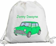 Personalised - Green Mini Car - Natural (Cream) Cotton Rucksack / Backpack / PE