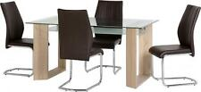 Milan 4 Brown PU Leather Seat Dining Set Oak Effect Veneer Clear Frosted Glass