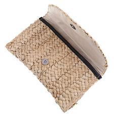 Women Boho Straw Knitted Clutch Braided Handbag Summer Beach Bag Purse Holder