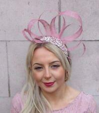 Rose Gold Dusky Pink Silver Sinamay Fascinator Headband Races Hair Band Vtg 4536