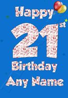 Personalised 21st Birthday Card Son Nephew Brother Male Boy Blue Age 21