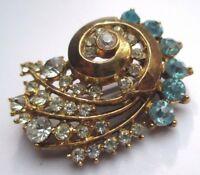 broche ancien bijou vintage couleur or cristaux diamant et aigue marine  2134