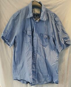 Peter Werth mens short sleeved blue cargo shirt size 5 Used