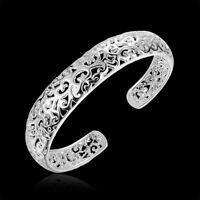 Women Fashion 925 Silver Bezel Hollow Cuff Bangle Open Bracelet Jewelry Gift