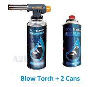 Blow Torch + 2x Butane Gas Can Flamethrower Burner Welding Auto Ignition Kitchen