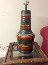 PAIR of MIDCENTURY ITALIAN MODERN COLORFUL RINGS CHALKWARE TABLE LAMPS / SHADES