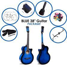"""Guitarra Acústica 1x Azul 38"""" + pick + Bolso + Cuerdas + Correa + Afinador + Soporte De Guitarra"""