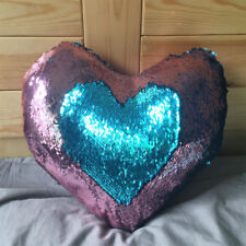 Heart Cushion Mermaid Sequin Pillow Magic Color Changing Reversible Sequin