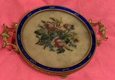 "Antique Victorian 5""Blue Enamel-Filigree- Petit Point-Round Dresser Tray"