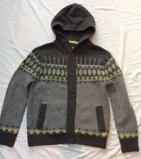 Boden Mens Knited Fairisle Button Hoodie Cardigan Size Large