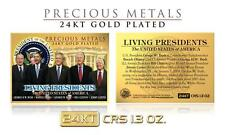 LIVING PRESIDENTS 24K Gold Plated Precious Metals Card Obama Bush Clinton Carter