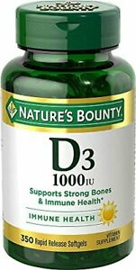Vitamin D by Nature's Bounty for immune support. Vitamin D, 1000IU, 350 Softgels
