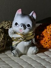 Vintage Kitten Figurine Made In Japan Grey With Gold Bow