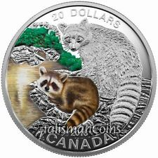 Canada 2016 Baby Animals #8 Mother Raccoon & Young Kit Cub $20 Pure Silver Proof